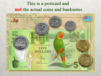 Postcard: Fiji Circulating Coins and Currency (Banknote) 2013