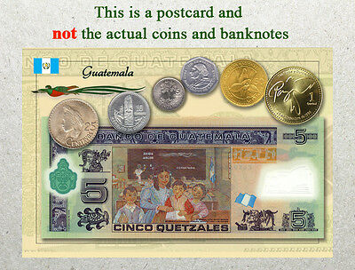 Postcard: Guatemala Circulating Coins and Currency (Banknote) 2013