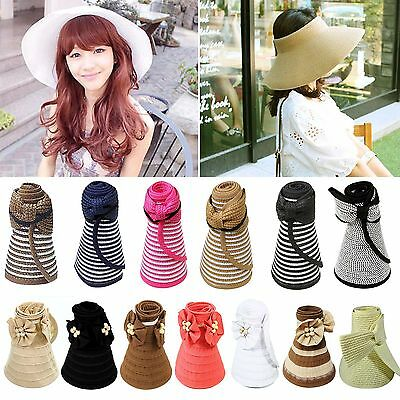 Fashion Foldable Adjustable Rool Up Wide Brim Cap Straw Bow Sun Visor Floppy Hat