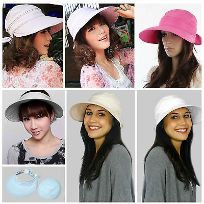 Summer Beach Women's Wide Large Brim Sun Canvas Hat Visor Removable Cap