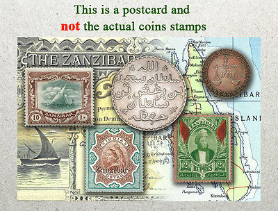 Postcard: Zanzibar Stamps and coins of Yester Years