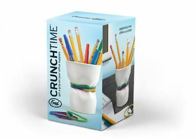 Crunch Time Ceramic Cup Pencil and Rubber Band Holder