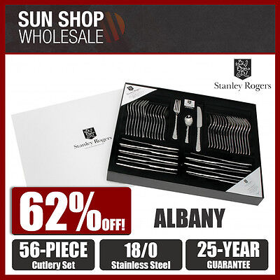 100% Genuine! Stanley Rogers Albany S/S 56 Piece Cutlery Set! RRP $299.00!