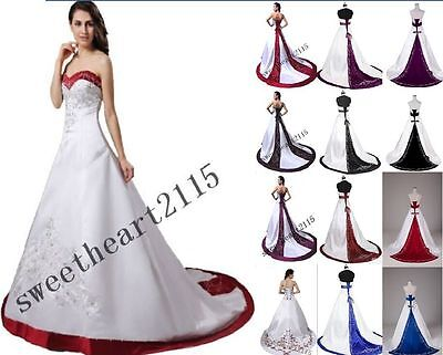 New White Wedding Dresses Bridal Prom Gown Stock Size 6-8-10-12-14-16-18