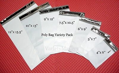 175 Poly Bag Postal Shipping Envelope Mailer Variety Pack ~ 25 each of 7 Sizes ~