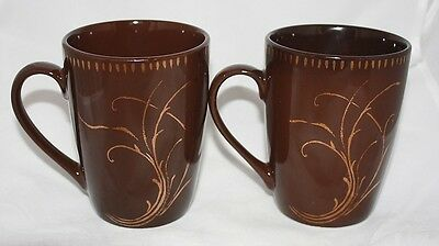 Lot of 2 Noble Excellence Porcelain Coffee Mugs Celestial Brown w Gold