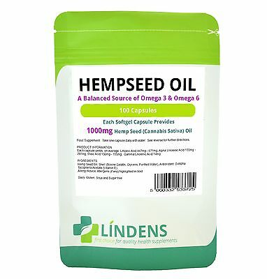 Lindens Powerful Hemp Seed Oil 1000mg 100 Capsules Omega 3 6 Hempseed