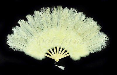"beige Marabou  Ostrich Feather fan primary Burlesque 21""x38"" with gift box"