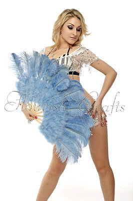 "Baby blue Marabou  Ostrich Feather fan primary Burlesque Dance 21""x38"" gift box"