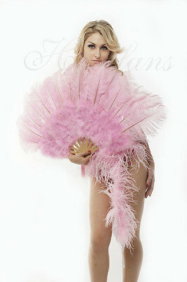"Pink Marabou  Ostrich Feather fan primary Burlesque Dance 21""x38"" gift box"