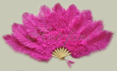 "Hot Pink Ostrich & Marabou Feathers fan Burlesque perform carrying case 24""x43"""