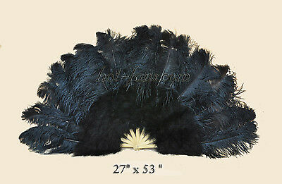 Black burlesque dancing 53 inch  Marabou & Ostrich feathers fan With gift box