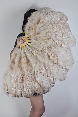 Light Camel burlesque dancing 53 inch Marabou & Ostrich feathers fan in gift box