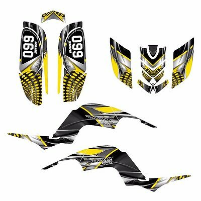 Raptor 660 660R Graphics Decal Sticker Kit #7777 Yellow Free Custom Service