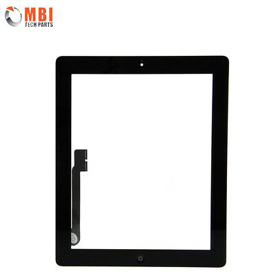 For iPad 3 Touch Screen Digitizer Glass with Home Button and Adhesive Black