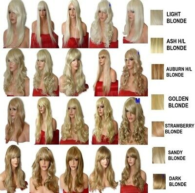 Blonde Bleach Lady Women real Natural Long Curly Straight Halloween Costume Wig