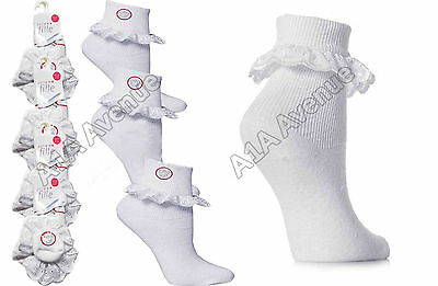 Girls 12 Pairs Cotton School Socks Lace Girls Frilly Lace Lot Ankle Socks New