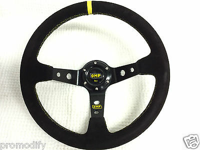 350mm Suede Leather Deep Dish Steering Wheel OMP MOMO Rally Drift NARDI SPARCO