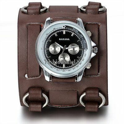 Roman Numerals Personality Decoration Mens Sport  Wrist Watch Wide Leather Band