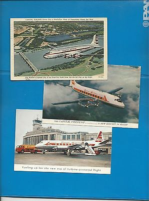Capital Airlines issued lot of 3 DC-4/viscount postcards