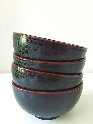 Handmade Burmese Lacquered Bowls, Tableware