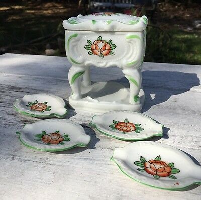 Set of 4 Vintage Japanese Porcelain  Ashtrays With Storage - Made in Japan