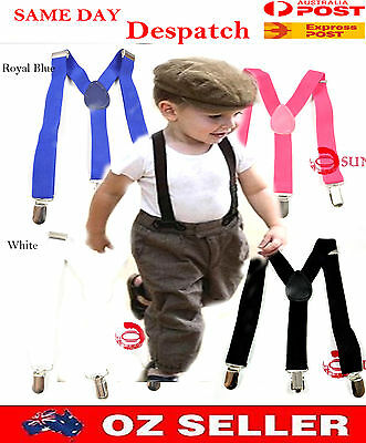 Kids Boys Girls Solid Color Adjustable Elastic Suspenders Braces 1 to 8 yearsold
