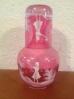 Vintage Antique Mary Gregory Cranberry Glass Decanter w/ Tumbler Glass Lid