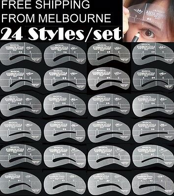 24 Styles Eyebrow Stencil Eye Brow Kit Liner Shaper Make Up Template Shaping DIY
