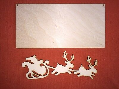 set of medium SANTA & PLAQUE WOODEN SHAPE PLAIN HANGING CHRISTMAS CRAFT