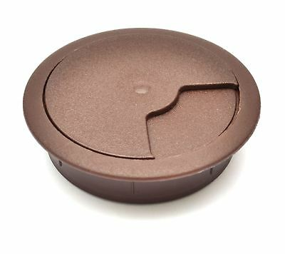 80mm Dark Brown Computer Desk Plastic Grommet Table Cable Tidy Wire Hole Cover