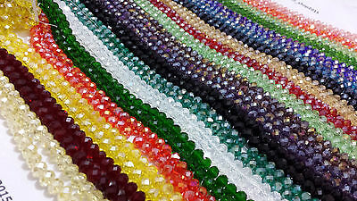 70 Faceted Rondelle Crystal Glass Loose Beads 40 COLOUR 8mm FREE PP