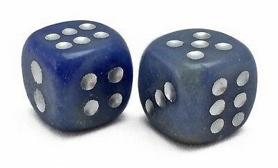 Blue Chalcedony Gemstone Dice Pair 14mm d6 Hand Carved with Free Pouch