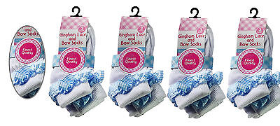 Girls 12 Pairs Cotton School Ankle Socks Lace Girls Frilly Gingham Blue Lace