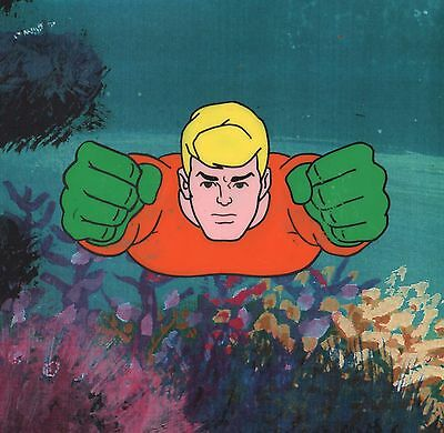 "Vintage  ""AQUAMAN"" Original Hand Painted Cel 1967 from The Superman Aquaman Hour"