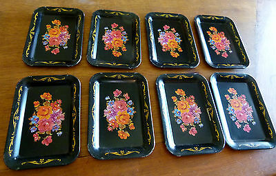 "Vintage Lot of 8 small 4.3/4 x 6 3/4"" Black Floral Metal Serving Sandwish Trays"