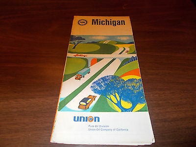 1968 Pure Oil Michigan Vintage Road Map