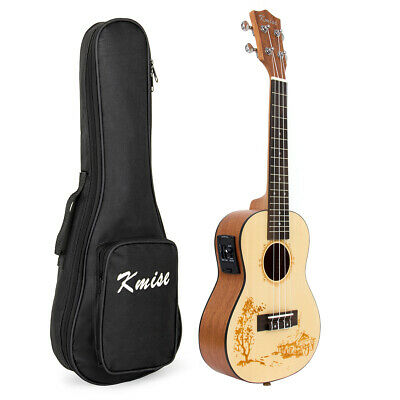 Top Solid Spruce Electric Acoustic Concert Ukulele Hawaii Guitar 23 Inch