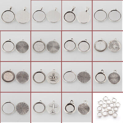 10pc Tibetan Antique Silver Alloy Flat Round Pendant Cabochon Settings Bead Tray