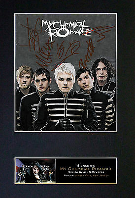 MY CHEMICAL ROMANCE Signed Mounted Autograph Photo Print (A4) No112