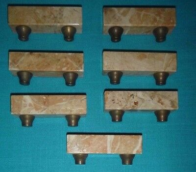 Seven (7) Vintage / Antique Granite Stone Drawer Handle Pulls