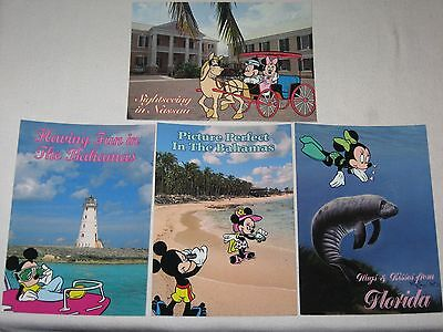 Lot Of 4 Vtg Disney Postcards 5 X 7 Mickey & Minnie Mouse On Vacation