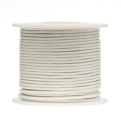 "18 AWG Gauge Solid Hook Up Wire White 100 ft 0.0403"" UL1007 300 Volts"