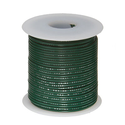 """20 AWG Gauge Solid Hook Up Wire Green 100 ft 0.0320"""" UL1007 300 Volts"""