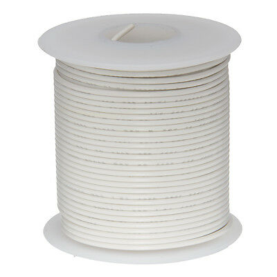"""20 AWG Gauge Solid Hook Up Wire White 100 ft 0.0320"""" UL1007 300 Volts"""