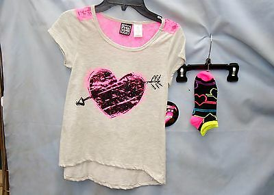 POGO CLUB 2 pc Neon Pink Heart Top with Matching Socks GIRL SIZES NWT