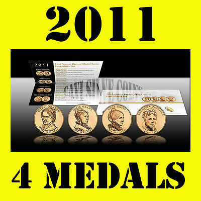 2011 US MINT FIRST SPOUSE LADY 4 BRONZE MEDAL SET W COA* GOLD COIN look