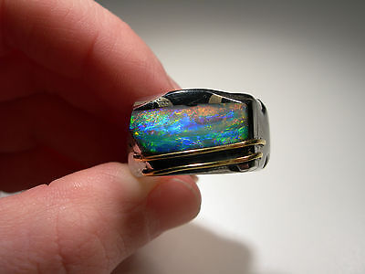 Stainless Steel Ring with Boulder opal inlay and Gold (Lot 2227)