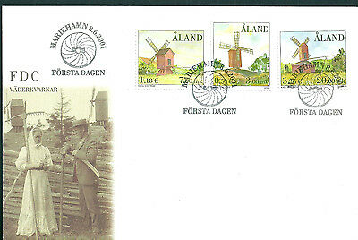 Aland 2001 Winmills on unaddressed post office first day cover