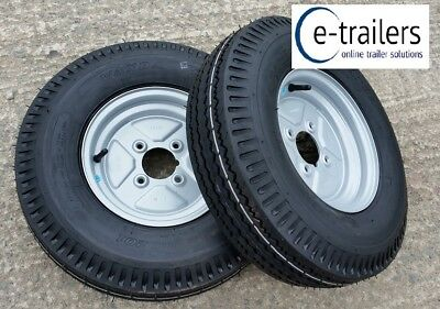 "PAIR 500x10 4 ply TRAILER TYRES 4 STUD 4"" PCD WHEEL GREASE NIPPLE CUT OUT -710kg"